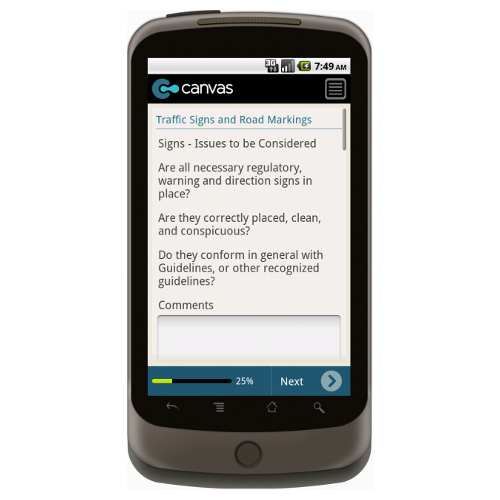 Android: Safety Checklist for Roadworks - Safety-Link Mobile App (Example 2)