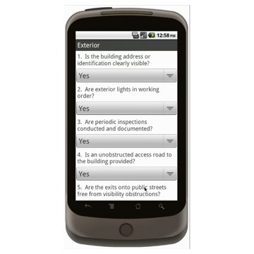 Android (1.5 - pre1.6): Building Inspection Checklist Mobile App (Example 1)