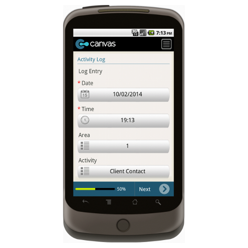 Android: Business Improvement District Daily Activity Log Mobile App (Example 1)