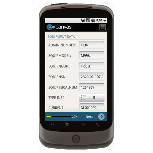 Android: DA FORM 5988-E EQUIPMENT & MAINTENANCE INSPECTION Mobile App (Example 1)