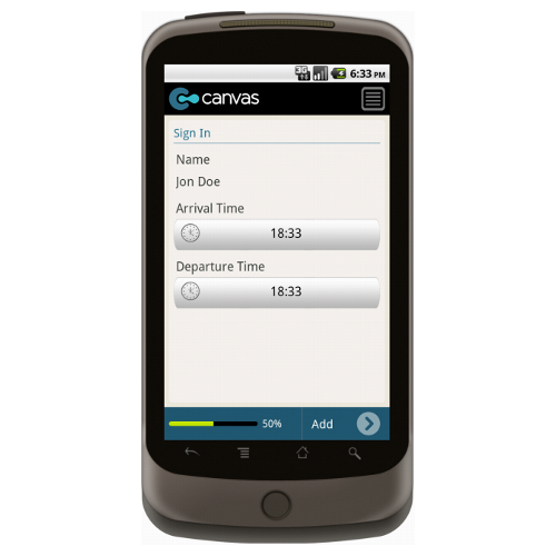 Basic Company Sign In Sheet Form Mobile App - iPhone, iPad, Android