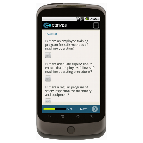 Android: Machine Guarding Inspection Checklist Mobile App (Example 1)