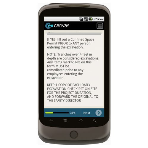 Android: Daily Excavation Checklist Mobile App (Example 2)
