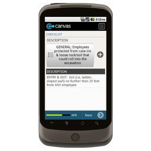 Android: Daily Excavation Checklist Mobile App (Example 4)
