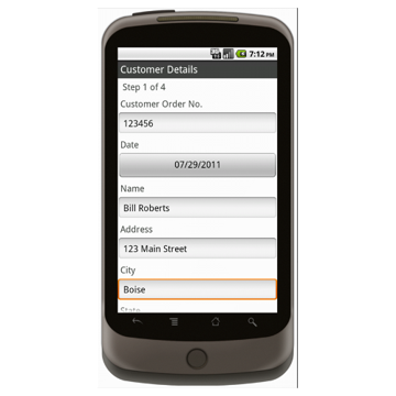 Android (1.5 - pre1.6): Sporting Goods Register Form - Deluxe 2522 Mobile App (Example 1)