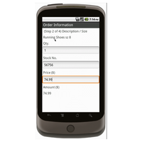 Android (1.5 - pre1.6): Sporting Goods Register Form - Deluxe 2522 Mobile App (Example 2)