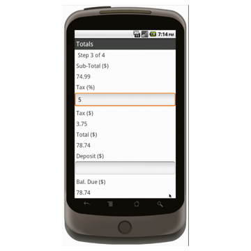 Android (1.5 - pre1.6): Sporting Goods Register Form - Deluxe 2522 Mobile App (Example 3)