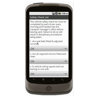 Android (1.5 - pre1.6): Drivers Daily Vehicle Safety Checklist - Safety-Link Mobile App (Example 2)