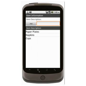 Android (1.5 - pre1.6): Inventory Tracking Sheet With Barcoding Mobile App (Example 3)